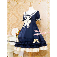 Classic Sailor Style Short Sleeve Lolita Dress by Strawberry Witch