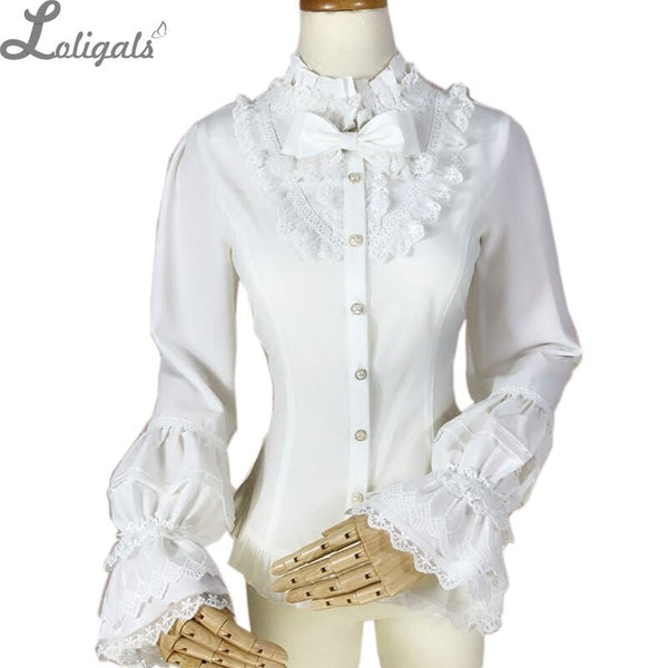 Sweet Women's Long Sleeve Blouse Stand Collar Lolita Button Down Shirt by Yiliya