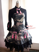 Chinese Style Three Quarter Sleeve Printed Qi-wa Lolita Dress