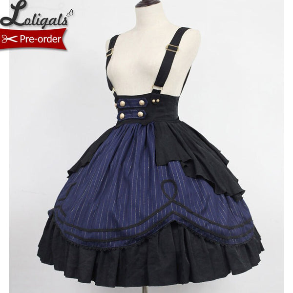 Idol College~Classic Striped Lolita Suspender Skirt Short Skirt by Soufflesong