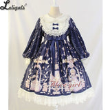 Vintage Long Lantern Sleeve Midi Dress ~ Angel's Book Printed Empire Waist Lolita Dress by Alice Girl ~ Pre-order
