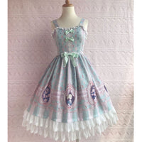 Sweet Rose Lover Printed Lolita JSK Dress Sleeveless Midi Dress by Yiliya