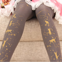 Starry Night Playing Cat ~ Sweet Printed Lolita Pantyhose Gold Stamped Patterned Tights