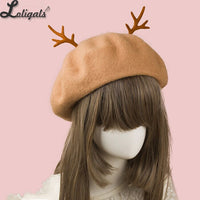 Sweet Women's Red Christmas Berets Deerhorn Wool Beret Hat for Girl