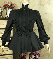 Vintage Cascading Ruffles Women's Lantern Sleeve Black Lolita Blouse with Bow