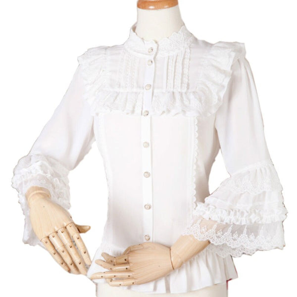 Sweet Lolita Chiffon Blouse with Lace Detailed Neckline Stand Collar Lace Flare Sleeve Women's Shirt