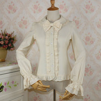Sweet Women's Chiffon Blouse Lolita Peter Pan Collar Long Sleeve Shirt