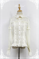 Royal Style Striped Women's Chiffon Shirt [Audrey] Series Long Sleeve Chiffon Blouse by Soufflesong