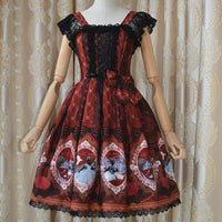 Sweet Short Sleeve Fairy Tale Themed Empire Waist Chiffon Lolita Dress Lace JSK Dress with Bow