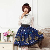 Mori Girl Blue Skater Skirt Moon and Star Printed Lady's Pleated Short Lolita Elastic Waist Skirt