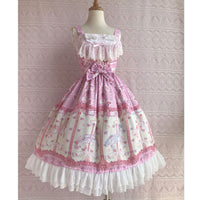 Rose & Carousel Printed Sweet Lolita Dress Sleeveless Midi Chiffon Dress by Yiliya