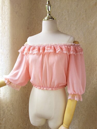 Sweet Women's Off the Shoulder Crop Top Bishop Sleeve Dotted Sheer Chiffon Blouse for Summer