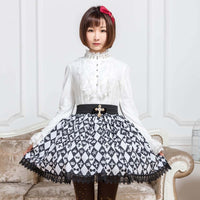 Sweet Mori Girl Black and White Diamond Checkered Short Skirt for Summer