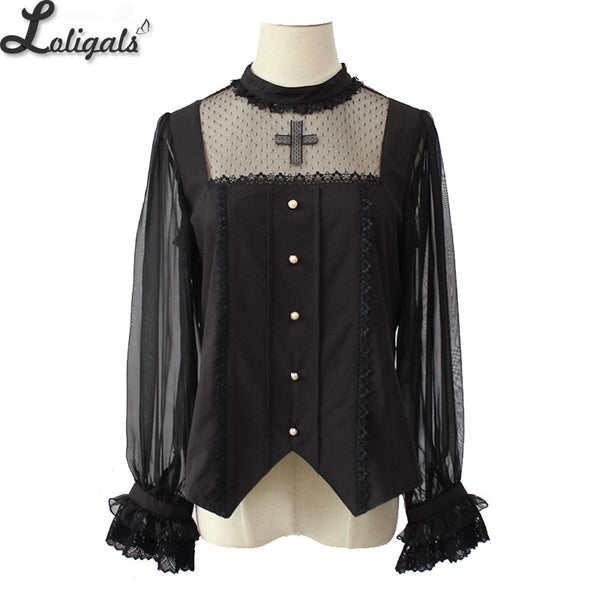 Gothic Women's White/Black Blouse Cross Embroidered Long Sleeve Illusion Neck Blouse by Alice Girl Pre-order