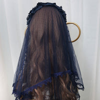 Sweet Star Embroidered Lolita Veil Navy Blue/White Elbow Short Lace Veil