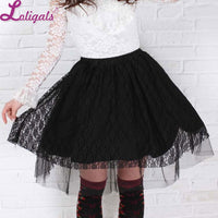 Sweet Short Black Rose Pattern Lace Pleated Skirt for Lady