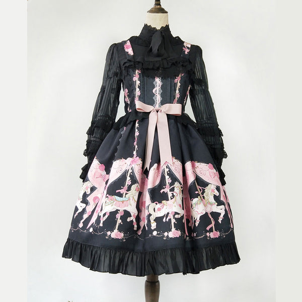 Running Carousel ~ Printed Lolita Casual Dress by Infanta