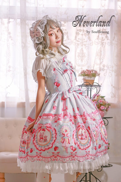 Strawberry & Rabbit ~ Sweet Printed High Waist Lolita JSK Dress by Soufflesong