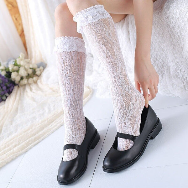 Sweet White Hollow Out Lace Socks Women's Lolita Long Socks