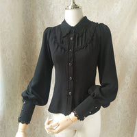 Women's Gothic Chiffon Button Down Blouse White/Black Lolita Shirt with Pointed Collar