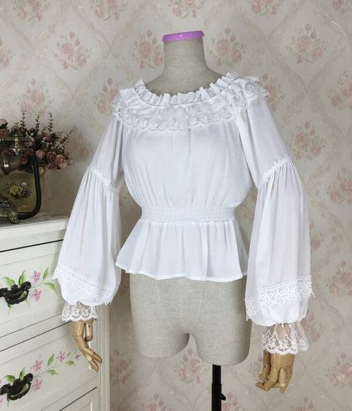 Sweet Women's Long Lantern Sleeve Chiffon Blouse Vintage Off the Shoulder Top