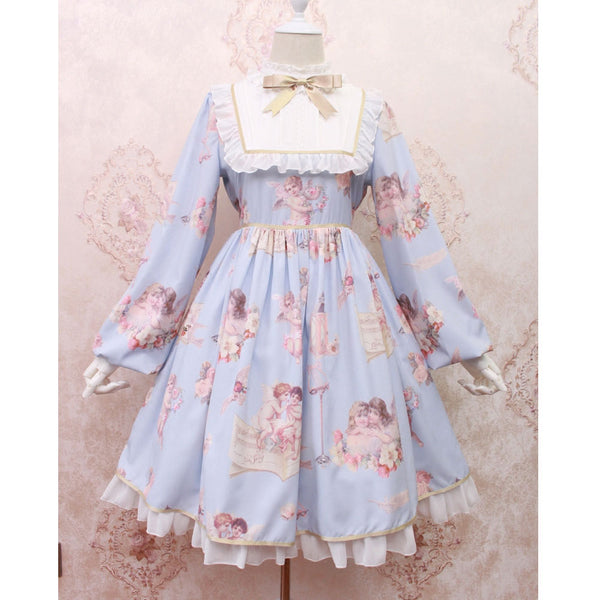 Angel's Voice ~ Sweet Printed Ruffled Long Lantern Sleeve Lolita Dress by Alice Girl ~ Pre-order
