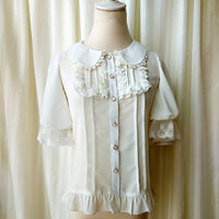 Sweet Short Lantern Sleeve Female Chiffon Blouse Peter Pan Collar Button Down Shirt