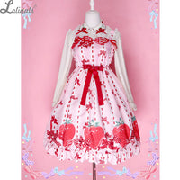 Sweet Strawberry Printed Lolita Casual Dress Cute Summer Sleeveless Sling Dress by Diamond Honey