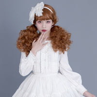 Retro Style Women's Lolita Shirt Long Sleeve Gothic White/Black Button Down Ruffled Blouse