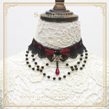 Gothic Lolita Necklace Kashmir Star Lace Chocker with Beaded Chain by Sweetdreamer
