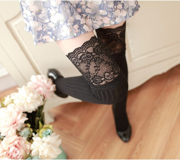 Classic Striped Pattern Thigh High Stockings Sweet Japanese Lace Sexy Cotton Over The Knee Stockings