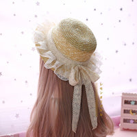 Sweet Loita Straw Sunhat Lace Ruffled Sun Hat Summer Caps with Bowknot