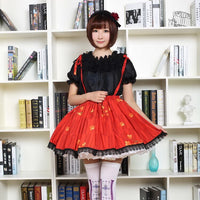 Red Sweet Short Skirt Lovely Japanese Plum Flower Printed Lolita Skirt