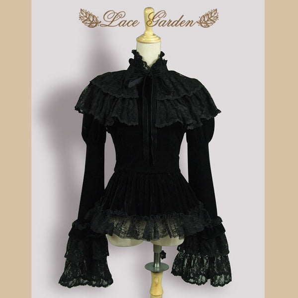 Vintage Black Velvet Women's Jacket Long Flare Sleeve Top with Layered Lace Ruffle Cape by Lace Garden