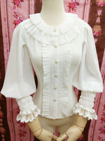Sweet White Summer Blouse for Girl Lantern Sleeve Women's White Blouse by Yiliya