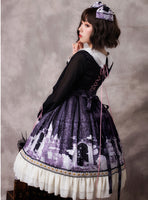 Gothic Women's Lolita OP Dress Vintage Peter Pan Collar Printed Party Dress by YLF