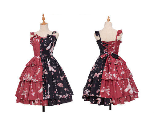Chocolate Bunny ~ Punk Contrast Color Printed Lolita JSK Dress by Magic Tea Party ~ Pre-order