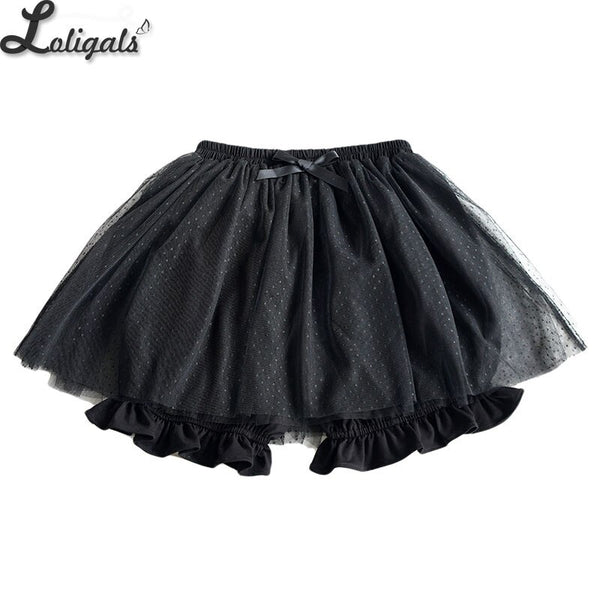 Sweet Lolita Bloomer Black/White Dotted Cosplay Shorts Elastic Waist Skorts