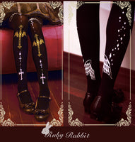 Gothic Patterned Black Tights Angel & Cross Lolita Pantyhose by Ruby Rabbit