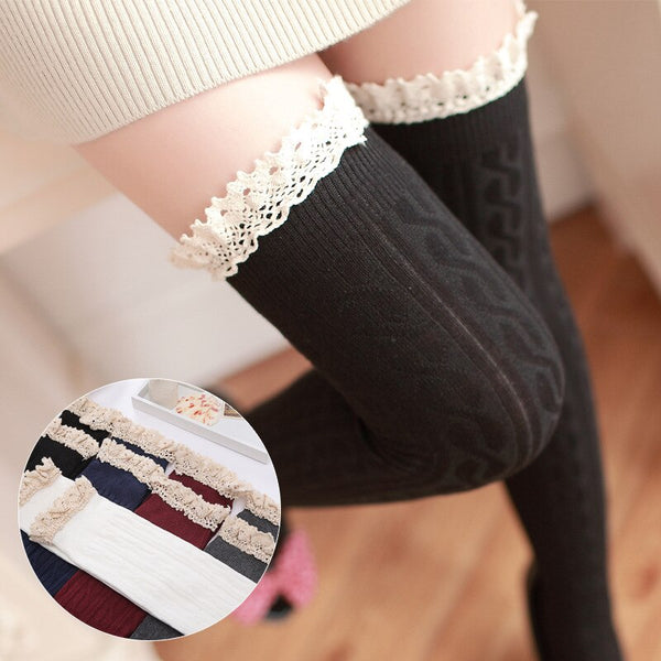 Cute Twist Pattern Cotton Thigh High Stockings Lace Trimmed Over Knee Stockings 5 Colors