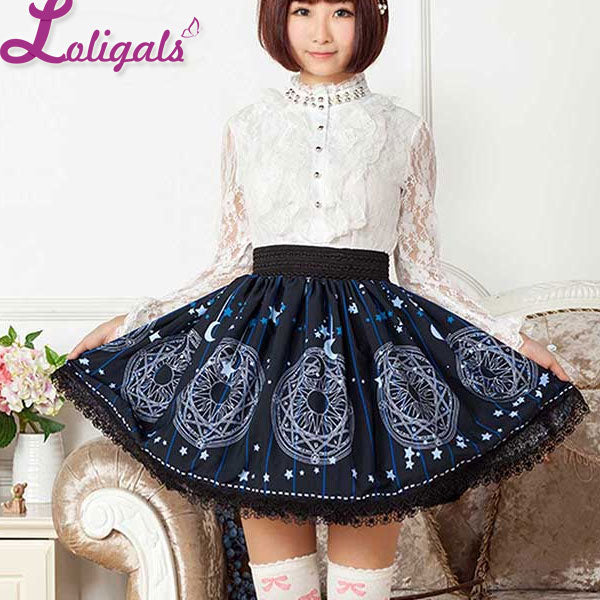 Women's Cute Circle Skirt Deep Blue Star and Moon Printed Short Mori Girl Skirt with Lace Trimming