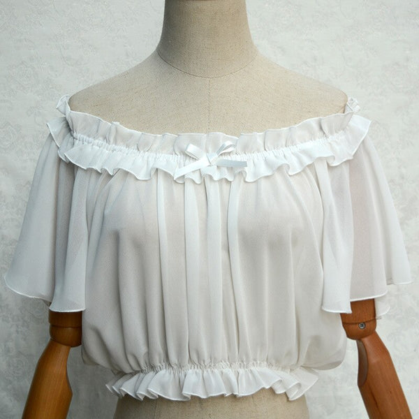 White Off the Shoulder Women's Chiffon Crop Top Short Batwing Sleeve Chiffon Blouse
