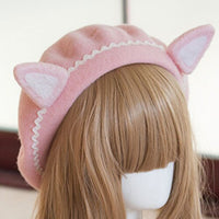Lovely Women's Cat Ear Berets Cute Mori Girl Wool Berets for Winter Pink White