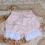 Sweet Women's Lolita Bloomer Elastic Waist Cosplay Shorts with Heart Shaped Pocket