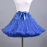 Fluffy Women's Tutu Skirt Adult Tulle Short Petticoat with Ruffles