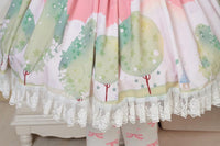 Sweet Pink Dream of Spring Printed Cute Girl's Short Pleated Lolita Skirt with Lace Trimming
