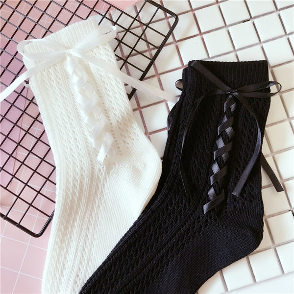 Sweet Lolita Socks Hollow Out Black White Cotton Socks with Lace up Bowknot