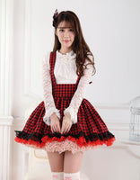 Sweet Japanese Style Super Adorable Red and Black Plaid Pleated Lace Jumper Skirt for Girl