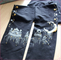 Beautiful Castle of Starry Night Patterned Tights Women's 80D Pantyhose