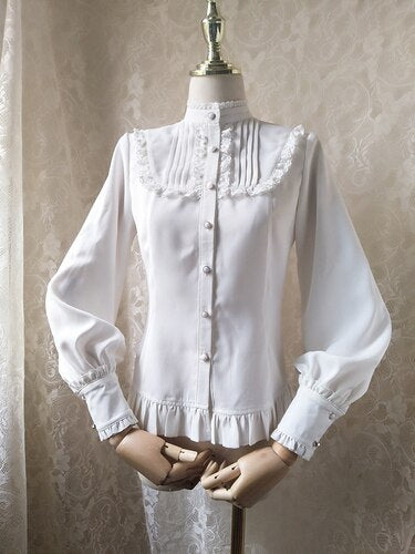 2019 Sweet Women's Lolita Blouse Ruffled Pink Vintage Long Lantern Sleeve Button Down Shirt